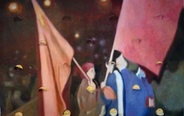 Флаги. Холст, масло, перфорирование. 60х205см, 2013
