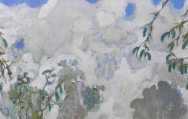 Зеленые серёжки, 186х59 см., холст, масло, 2018 г.