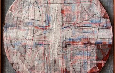 Цикл основные: Крест. 123х123. 2011. Микалентная бумага, дерево, акрил, восковые карандаши, гофрокартон, пенопласт