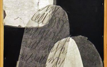 М. Кастальская, В черном и белом VI, иск. кожа, микллент. бум., кар, серебр. фольга, 144х76, 2003