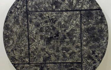 М. Кастальская, Взгляд с земли на небо и наоборот, дерево, пластилин, фольга, смеш. тех, диаметр 70, 1990