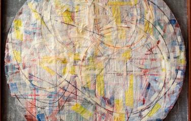 Цикл основные: Круг.1 23х123. 2011. Микалентная бумага, дерево, акрил, восковые карандаши, гофрокартон, пенопласт