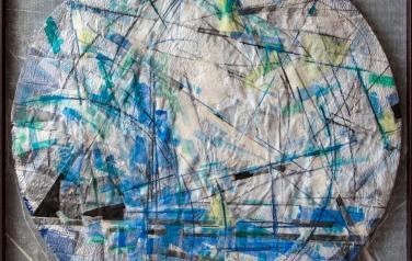 Цикл основные: Треугольник. 123х123. 2011. Микалентная бумага, дерево, акрил, восковые карандаши, гофрокартон, пенопласт