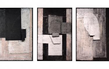 Рельеф с черным замковым элементом.Триптих.70х46 каждая.Фанера, бум.масса,пенокартон,акрил