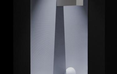 Shadow, Painted wood, display, video, light.  120x86x30 cm.