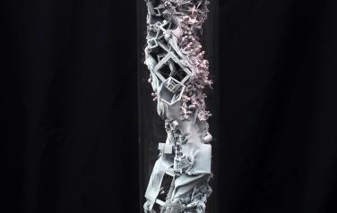 Spring's substance, 95x15 cm. polymers, 3D printing, plexiglass, 2019